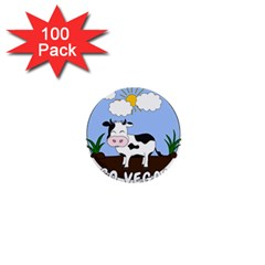 Friends Not Food   Cute Cow 1  Mini Buttons (100 Pack)  by Valentinaart