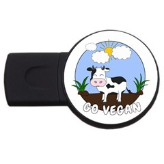 Friends Not Food - Cute Cow Usb Flash Drive Round (2 Gb) by Valentinaart