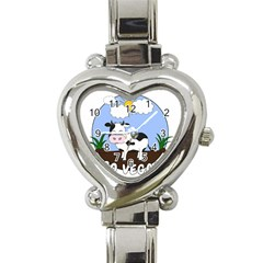 Friends Not Food   Cute Cow Heart Italian Charm Watch by Valentinaart