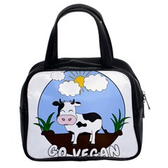 Friends Not Food   Cute Cow Classic Handbags (2 Sides) by Valentinaart