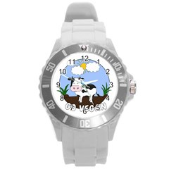 Friends Not Food   Cute Cow Round Plastic Sport Watch (l)