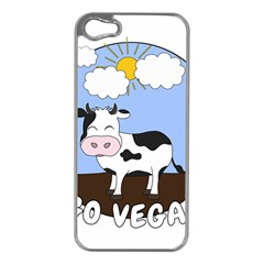 Friends Not Food   Cute Cow Apple Iphone 5 Case (silver)