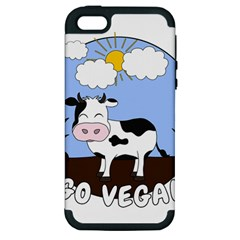 Friends Not Food   Cute Cow Apple Iphone 5 Hardshell Case (pc+silicone) by Valentinaart