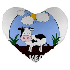 Friends Not Food   Cute Cow Large 19  Premium Heart Shape Cushions by Valentinaart