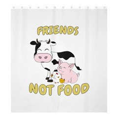 Friends Not Food   Cute Cow, Pig And Chicken Shower Curtain 66  X 72  (large)  by Valentinaart