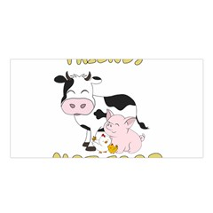 Friends Not Food   Cute Cow, Pig And Chicken Satin Shawl by Valentinaart
