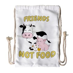 Friends Not Food   Cute Cow, Pig And Chicken Drawstring Bag (large)