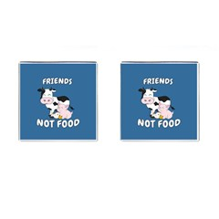 Friends Not Food   Cute Cow, Pig And Chicken Cufflinks (square) by Valentinaart