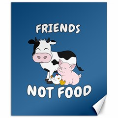Friends Not Food   Cute Cow, Pig And Chicken Canvas 8  X 10  by Valentinaart