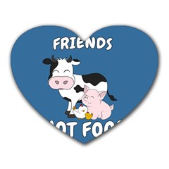 Friends Not Food   Cute Cow, Pig And Chicken Heart Mousepads by Valentinaart
