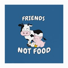 Friends Not Food   Cute Cow, Pig And Chicken Medium Glasses Cloth (2 Side)