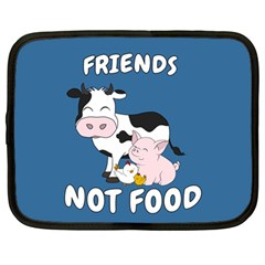 Friends Not Food - Cute Cow, Pig And Chicken Netbook Case (large) by Valentinaart