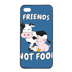 Friends Not Food   Cute Cow, Pig And Chicken Apple Iphone 4/4s Seamless Case (black) by Valentinaart
