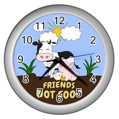 Friends Not Food   Cute Cow, Pig And Chicken Wall Clocks (silver)