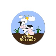 Friends Not Food - Cute Cow, Pig And Chicken Magnet 3  (round) by Valentinaart