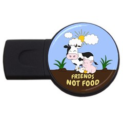 Friends Not Food   Cute Cow, Pig And Chicken Usb Flash Drive Round (4 Gb) by Valentinaart