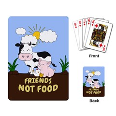 Friends Not Food - Cute Cow, Pig And Chicken Playing Card by Valentinaart
