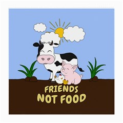 Friends Not Food - Cute Cow, Pig And Chicken Medium Glasses Cloth (2-side) by Valentinaart