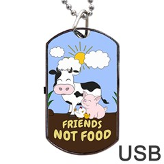 Friends Not Food   Cute Cow, Pig And Chicken Dog Tag Usb Flash (two Sides) by Valentinaart
