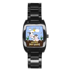 Friends Not Food   Cute Cow, Pig And Chicken Stainless Steel Barrel Watch by Valentinaart