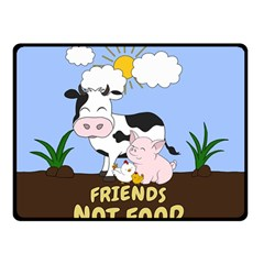 Friends Not Food - Cute Cow, Pig And Chicken Double Sided Fleece Blanket (small)  by Valentinaart