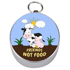 Friends Not Food   Cute Cow, Pig And Chicken Silver Compasses by Valentinaart