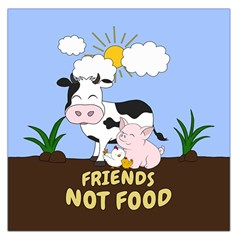 Friends Not Food   Cute Cow, Pig And Chicken Large Satin Scarf (square)