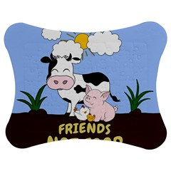 Friends Not Food   Cute Cow, Pig And Chicken Jigsaw Puzzle Photo Stand (bow)