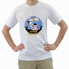 Friends Not Food   Cute Cow, Pig And Chicken Men s T Shirt (white) (two Sided)