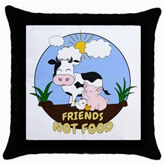 Friends Not Food   Cute Cow, Pig And Chicken Throw Pillow Case (black) by Valentinaart