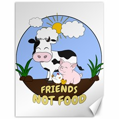 Friends Not Food   Cute Cow, Pig And Chicken Canvas 12  X 16   by Valentinaart