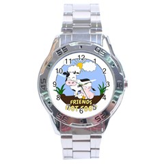 Friends Not Food   Cute Cow, Pig And Chicken Stainless Steel Analogue Watch by Valentinaart