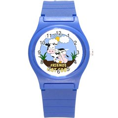 Friends Not Food   Cute Cow, Pig And Chicken Round Plastic Sport Watch (s) by Valentinaart