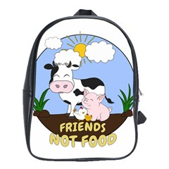 Friends Not Food   Cute Cow, Pig And Chicken School Bag (xl) by Valentinaart
