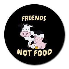 Friends Not Food   Cute Cow, Pig And Chicken Round Mousepads by Valentinaart