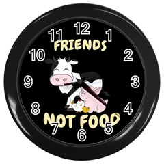 Friends Not Food - Cute Cow, Pig And Chicken Wall Clocks (black) by Valentinaart