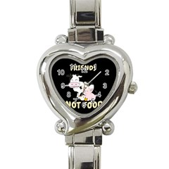 Friends Not Food   Cute Cow, Pig And Chicken Heart Italian Charm Watch by Valentinaart