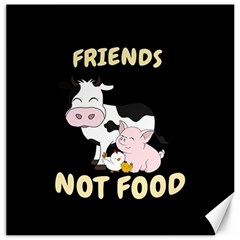 Friends Not Food   Cute Cow, Pig And Chicken Canvas 12  X 12   by Valentinaart