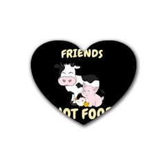 Friends Not Food   Cute Cow, Pig And Chicken Rubber Coaster (heart)