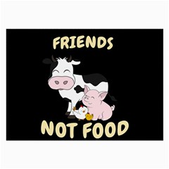 Friends Not Food   Cute Cow, Pig And Chicken Large Glasses Cloth (2 Side) by Valentinaart
