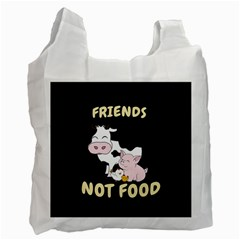 Friends Not Food   Cute Cow, Pig And Chicken Recycle Bag (one Side)