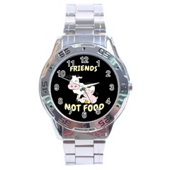 Friends Not Food   Cute Cow, Pig And Chicken Stainless Steel Analogue Watch