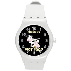 Friends Not Food   Cute Cow, Pig And Chicken Round Plastic Sport Watch (m) by Valentinaart