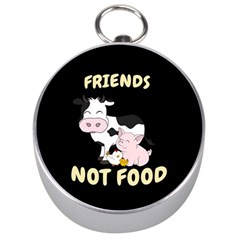 Friends Not Food   Cute Cow, Pig And Chicken Silver Compasses