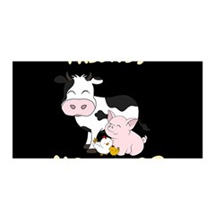 Friends Not Food   Cute Cow, Pig And Chicken Satin Wrap by Valentinaart