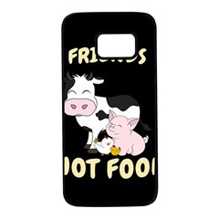 Friends Not Food   Cute Cow, Pig And Chicken Samsung Galaxy S7 Black Seamless Case by Valentinaart