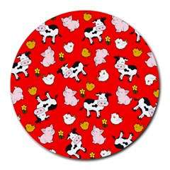 The Farm Pattern Round Mousepads by Valentinaart