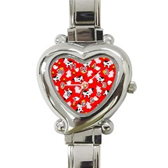 The Farm Pattern Heart Italian Charm Watch by Valentinaart