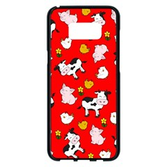 The Farm Pattern Samsung Galaxy S8 Plus Black Seamless Case by Valentinaart