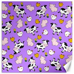 The Farm Pattern Canvas 12  X 12   by Valentinaart
